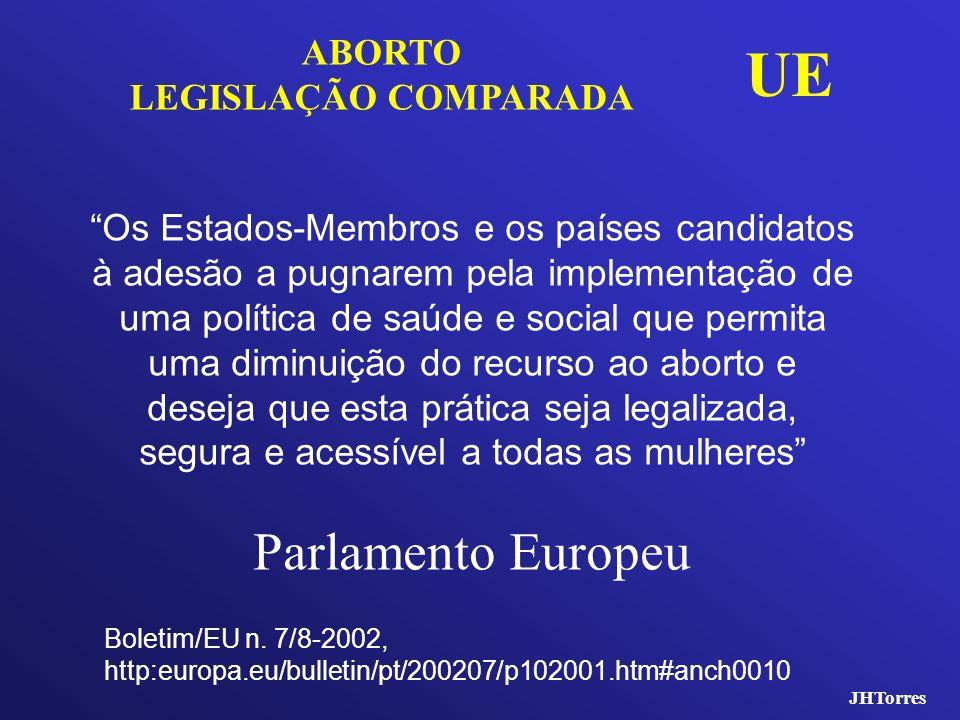 JHTorres ABORTO LEGISLAÇÃO COMPARADA UE Os Estados-Membros e os países candidatos à adesão a pugnarem pela implementação de uma política de saúde e so