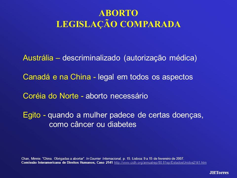 JHTorres ABORTO LEGISLAÇÃO COMPARADA Austrália – descriminalizado (autorização médica) Canadá e na China - legal em todos os aspectos Coréia do Norte