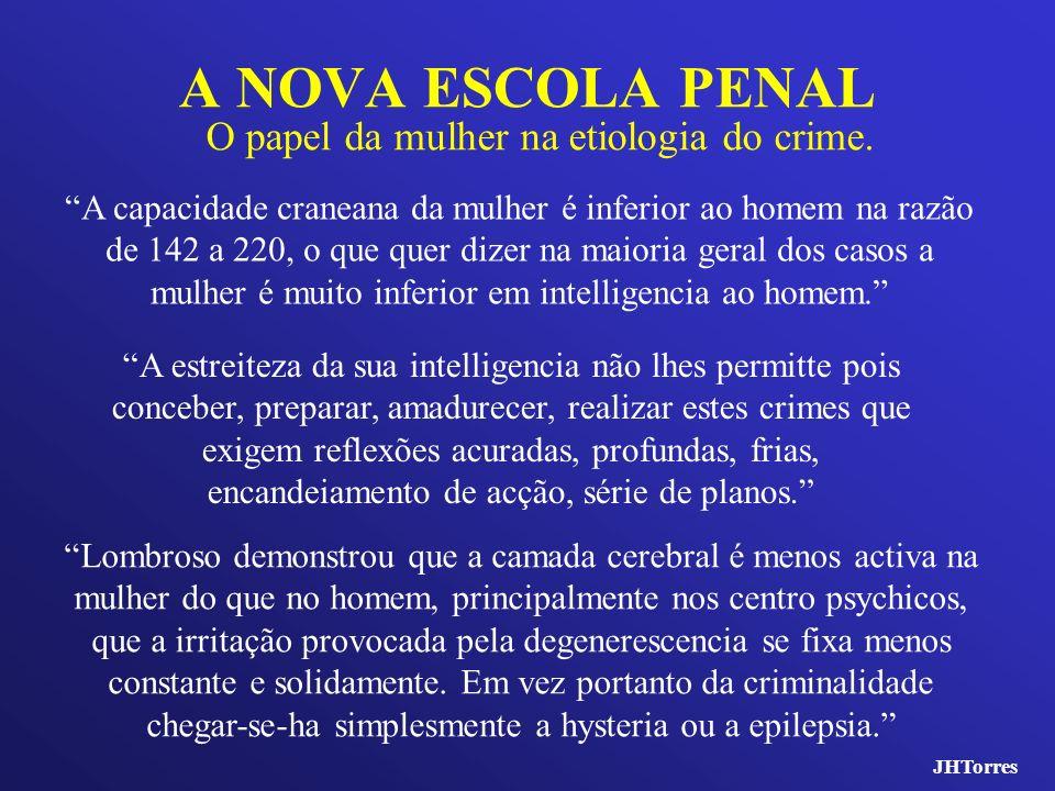A NOVA ESCOLA PENAL O papel da mulher na etiologia do crime. A capacidade craneana da mulher é inferior ao homem na razão de 142 a 220, o que quer diz