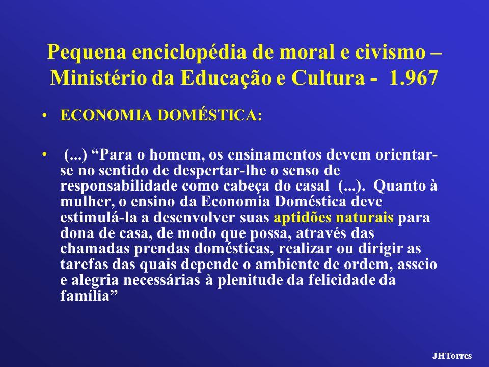 Pequena enciclopédia de moral e civismo – Ministério da Educação e Cultura - 1.967 ECONOMIA DOMÉSTICA: (...) Para o homem, os ensinamentos devem orien