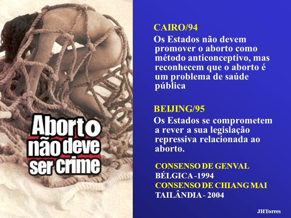 CAIRO/94 Os Estados não devem promover o aborto como método anticonceptivo, mas reconhecem que o aborto é um problema de saúde pública BEIJING/95 Os E
