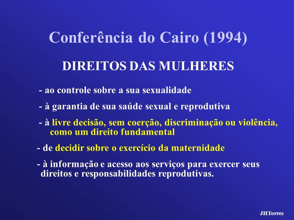 DIREITOS DAS MULHERES Conferência do Cairo (1994) - à informação e acesso aos serviços para exercer seus direitos e responsabilidades reprodutivas. -