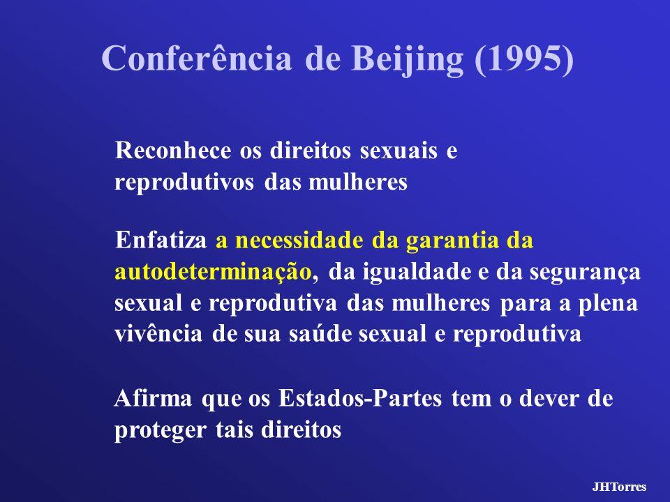 Conferência de Beijing (1995) Reconhece os direitos sexuais e reprodutivos das mulheres Afirma que os Estados-Partes tem o dever de proteger tais dire