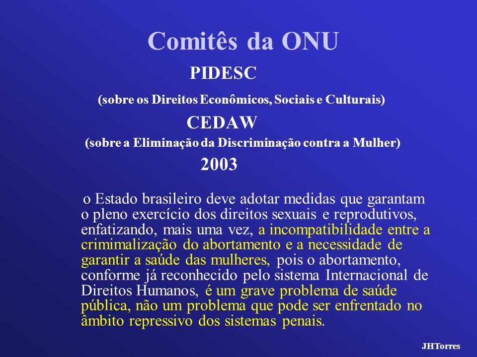 Comitês da ONU PIDESC (sobre os Direitos Econômicos, Sociais e Culturais) CEDAW (sobre a Eliminação da Discriminação contra a Mulher) 2003 o Estado br