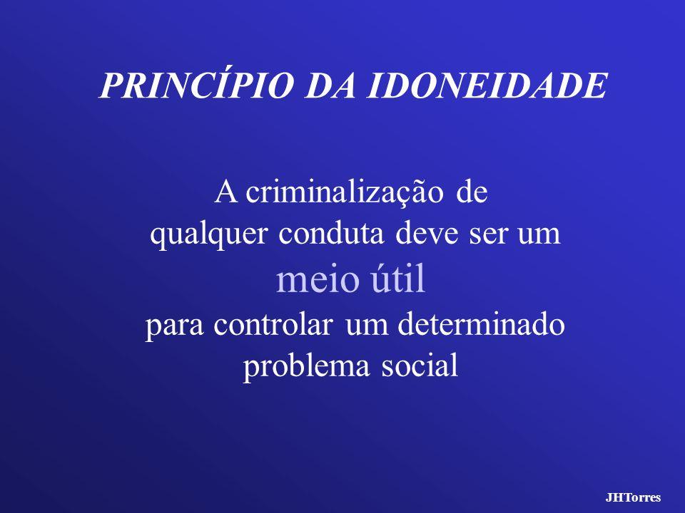 PRINCÍPIO DA IDONEIDADE A criminalização de qualquer conduta deve ser um meio útil para controlar um determinado problema social JHTorres