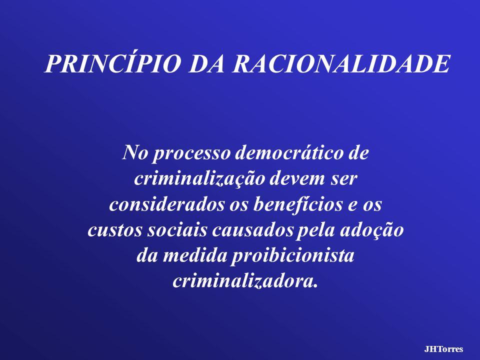 PRINCÍPIO DA RACIONALIDADE No processo democrático de criminalização devem ser considerados os benefícios e os custos sociais causados pela adoção da