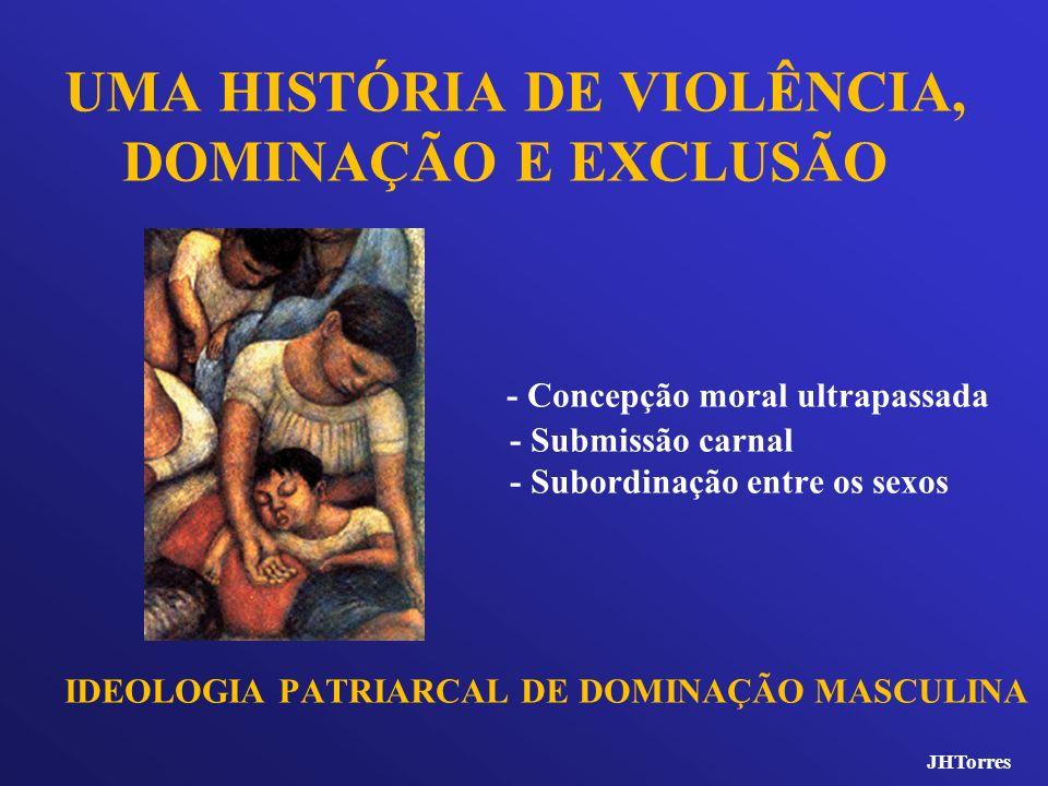 UMA HISTÓRIA DE VIOLÊNCIA, DOMINAÇÃO E EXCLUSÃO - Concepção moral ultrapassada - Submissão carnal - Subordinação entre os sexos IDEOLOGIA PATRIARCAL D