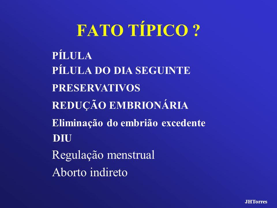 FATO TÍPICO ? Regulação menstrual DIU Eliminação do embrião excedente REDUÇÃO EMBRIONÁRIA PÍLULA DO DIA SEGUINTE Aborto indireto PÍLULA PRESERVATIVOS