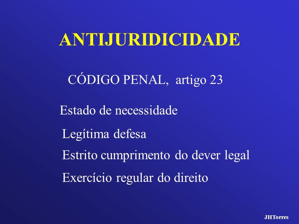ANTIJURIDICIDADE CÓDIGO PENAL, artigo 23 Estado de necessidade Legítima defesa Estrito cumprimento do dever legal Exercício regular do direito JHTorre