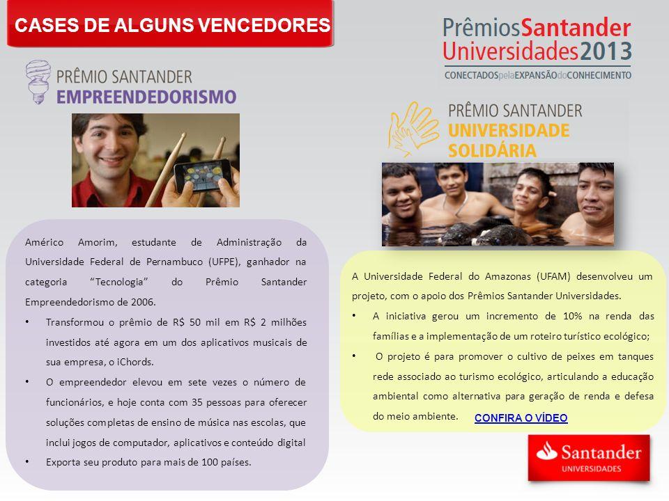 CASES DE ALGUNS VENCEDORES Américo Amorim, estudante de Administração da Universidade Federal de Pernambuco (UFPE), ganhador na categoria Tecnologia d