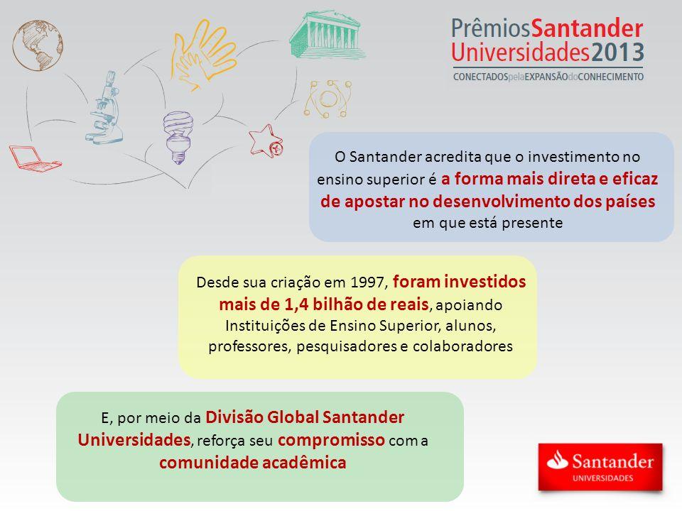 Prêmios Santander Universidades No Brasil, há 8 anos, uma das principais iniciativas que reforçam o compromisso do Santander com o ensino superior são os Prêmios Santander Universidades