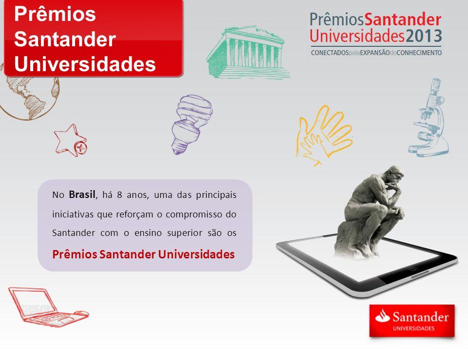 Prêmios Santander Universidades No Brasil, há 8 anos, uma das principais iniciativas que reforçam o compromisso do Santander com o ensino superior são