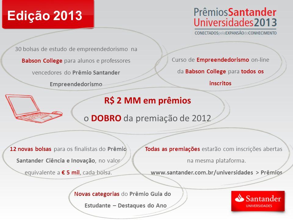 Edição 2013 30 bolsas de estudo de empreendedorismo na Babson College para alunos e professores vencedores do Prêmio Santander Empreendedorismo Curso