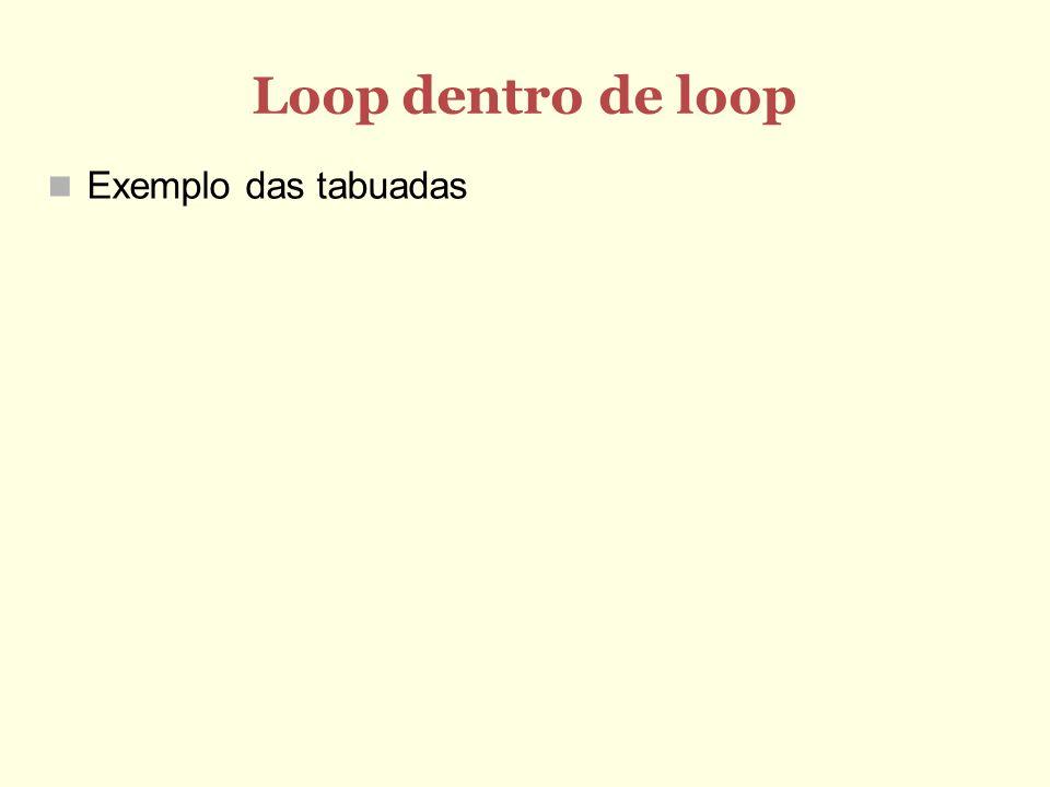 Loop dentro de loop Exemplo das tabuadas