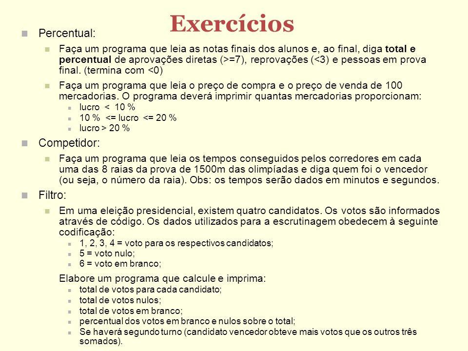 Exercícios Percentual: Faça um programa que leia as notas finais dos alunos e, ao final, diga total e percentual de aprovações diretas (>=7), reprovaç