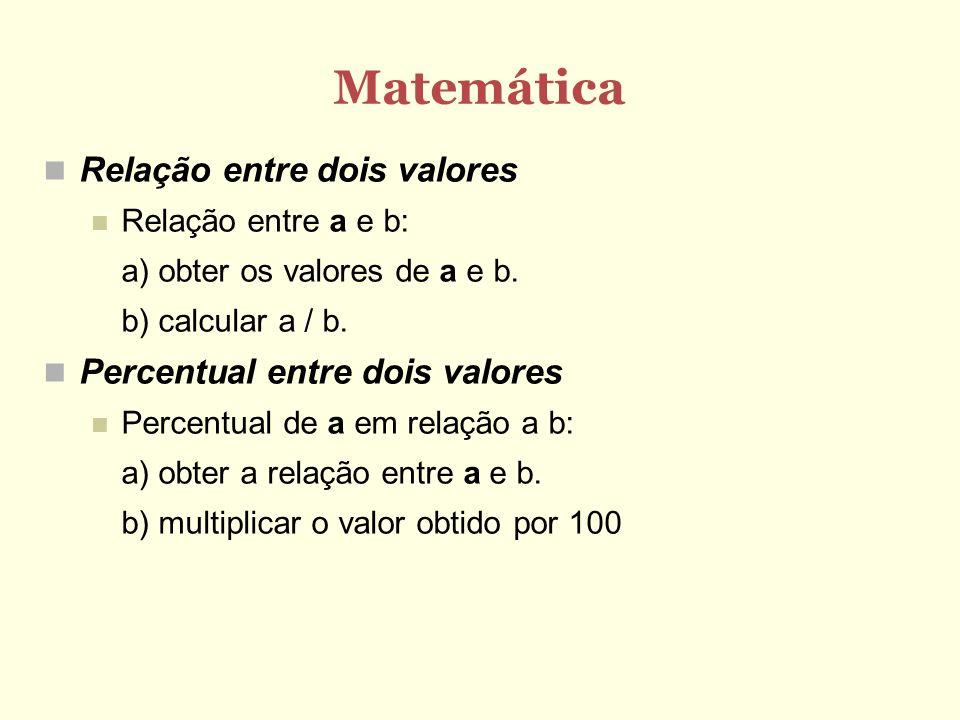 Matemática Relação entre dois valores Relação entre a e b: a) obter os valores de a e b. b) calcular a / b. Percentual entre dois valores Percentual d