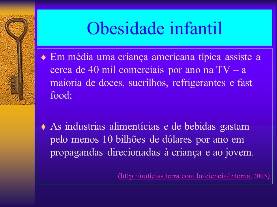 Obesidade infantil Em média uma criança americana típica assiste a cerca de 40 mil comerciais por ano na TV – a maioria de doces, sucrilhos, refrigera