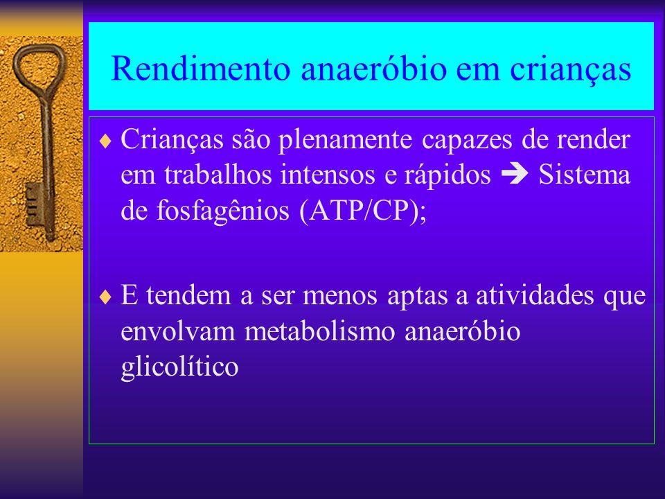 Rendimento anaeróbio em crianças Crianças são plenamente capazes de render em trabalhos intensos e rápidos Sistema de fosfagênios (ATP/CP); E tendem a
