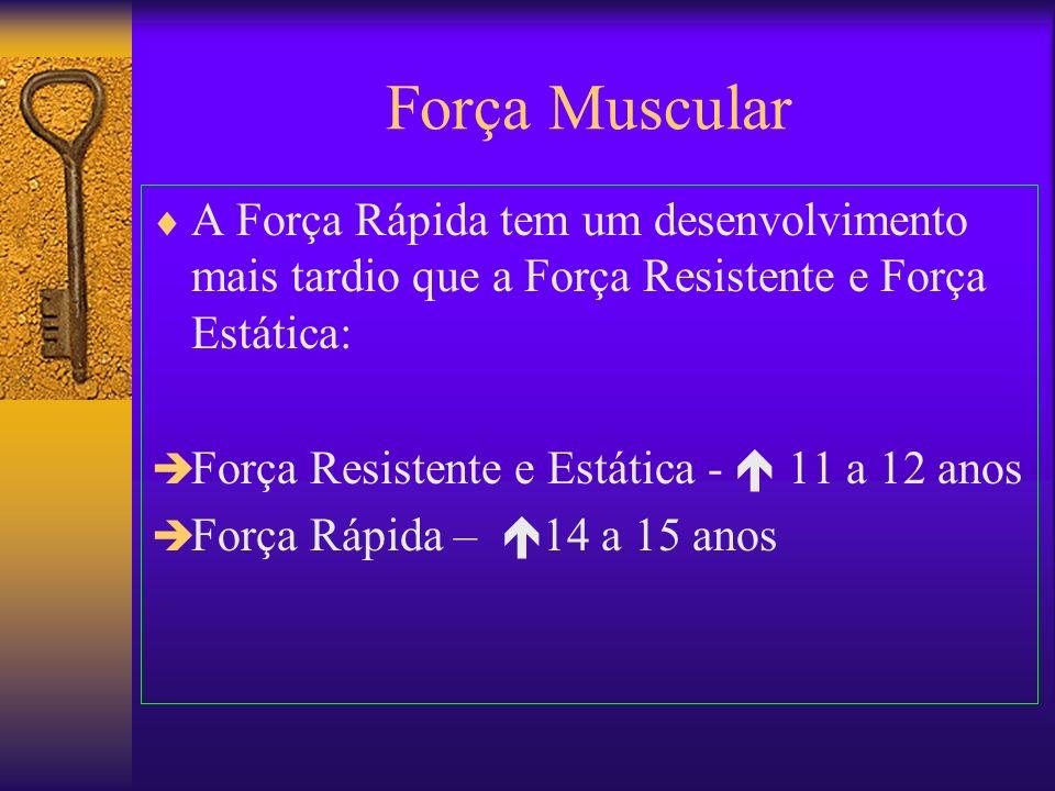 Força Muscular A Força Rápida tem um desenvolvimento mais tardio que a Força Resistente e Força Estática: Força Resistente e Estática - 11 a 12 anos F