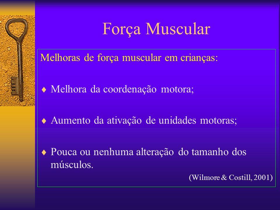 Força Muscular Melhoras de força muscular em crianças: Melhora da coordenação motora; Aumento da ativação de unidades motoras; Pouca ou nenhuma altera