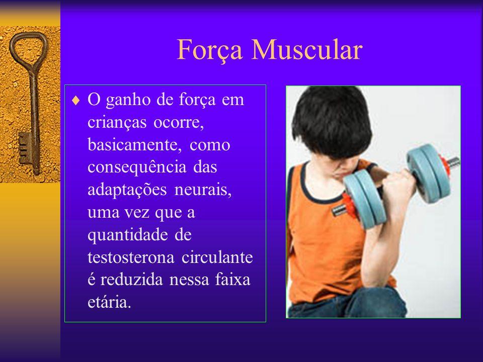 Força Muscular O ganho de força em crianças ocorre, basicamente, como consequência das adaptações neurais, uma vez que a quantidade de testosterona ci