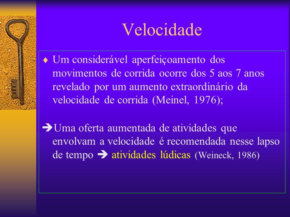 Velocidade Um considerável aperfeiçoamento dos movimentos de corrida ocorre dos 5 aos 7 anos revelado por um aumento extraordinário da velocidade de c