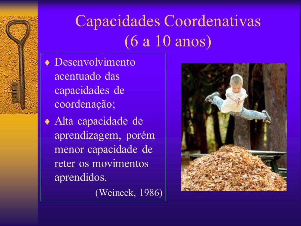 Capacidades Coordenativas (6 a 10 anos) Desenvolvimento acentuado das capacidades de coordenação; Alta capacidade de aprendizagem, porém menor capacid