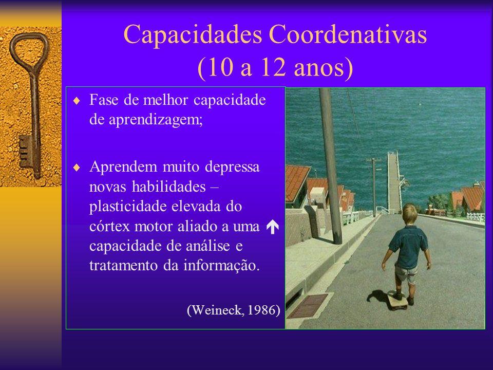 Capacidades Coordenativas (10 a 12 anos) Fase de melhor capacidade de aprendizagem; Aprendem muito depressa novas habilidades – plasticidade elevada d