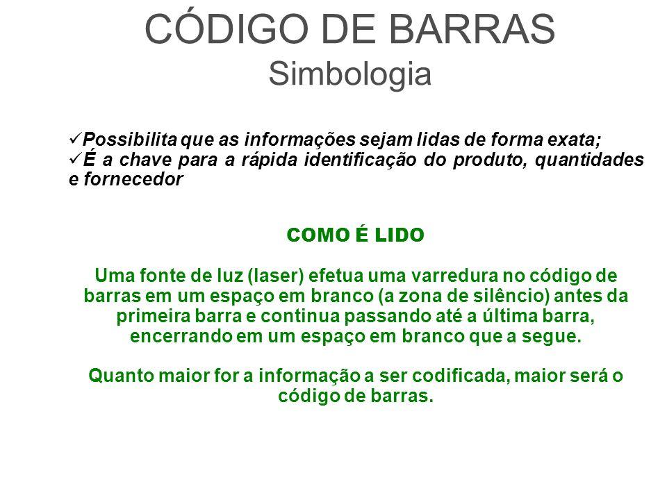 CÓDIGO DE BARRAS Símbolo composto por barras paralelas de larguras e espaçamentos variados.
