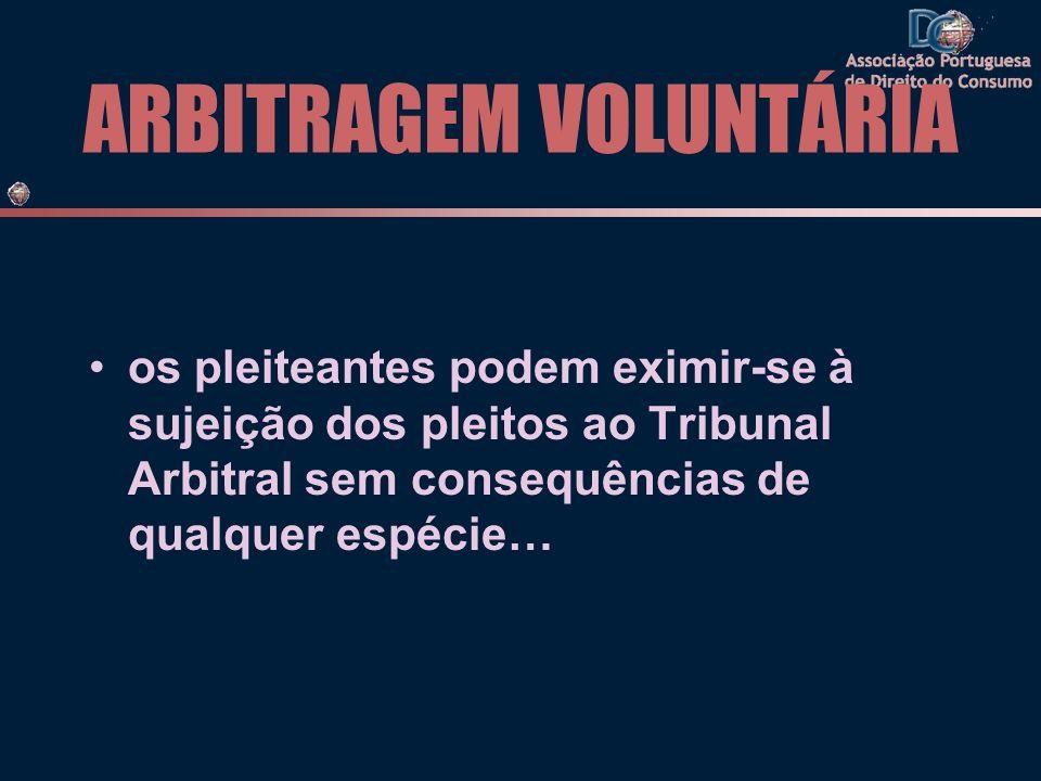 ARBITRAGEM VOLUNTÁRIA os pleiteantes podem eximir-se à sujeição dos pleitos ao Tribunal Arbitral sem consequências de qualquer espécie…