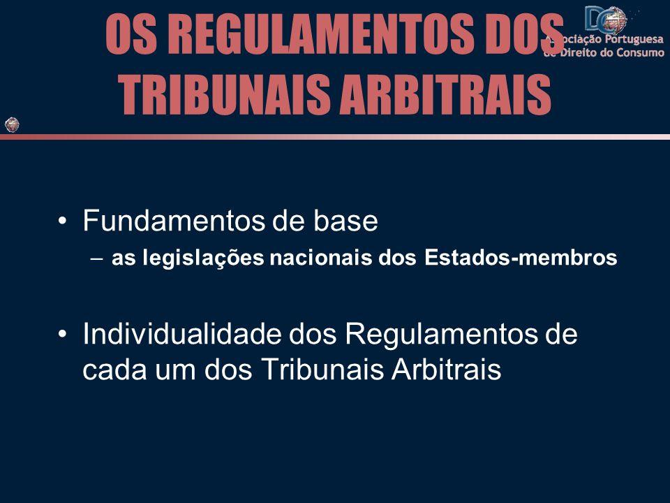 OS REGULAMENTOS DOS TRIBUNAIS ARBITRAIS Fundamentos de base –as legislações nacionais dos Estados-membros Individualidade dos Regulamentos de cada um dos Tribunais Arbitrais