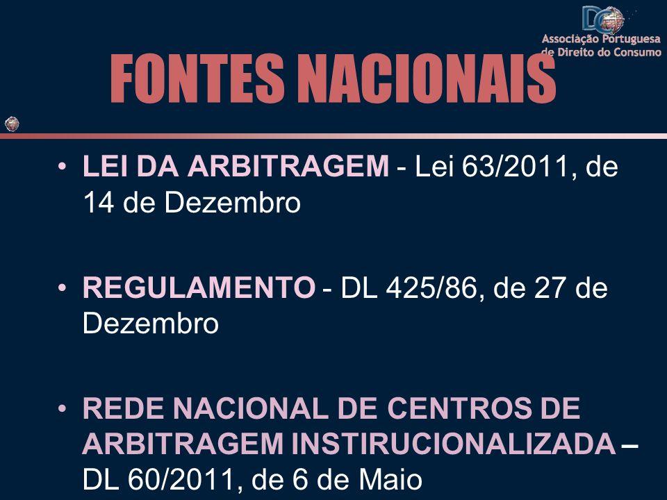 FONTES NACIONAIS LEI DA ARBITRAGEM - Lei 63/2011, de 14 de Dezembro REGULAMENTO - DL 425/86, de 27 de Dezembro REDE NACIONAL DE CENTROS DE ARBITRAGEM INSTIRUCIONALIZADA – DL 60/2011, de 6 de Maio