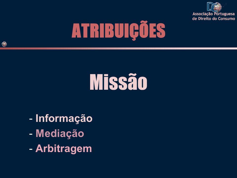 ATRIBUIÇÕES Missão - Informação - Mediação - Arbitragem