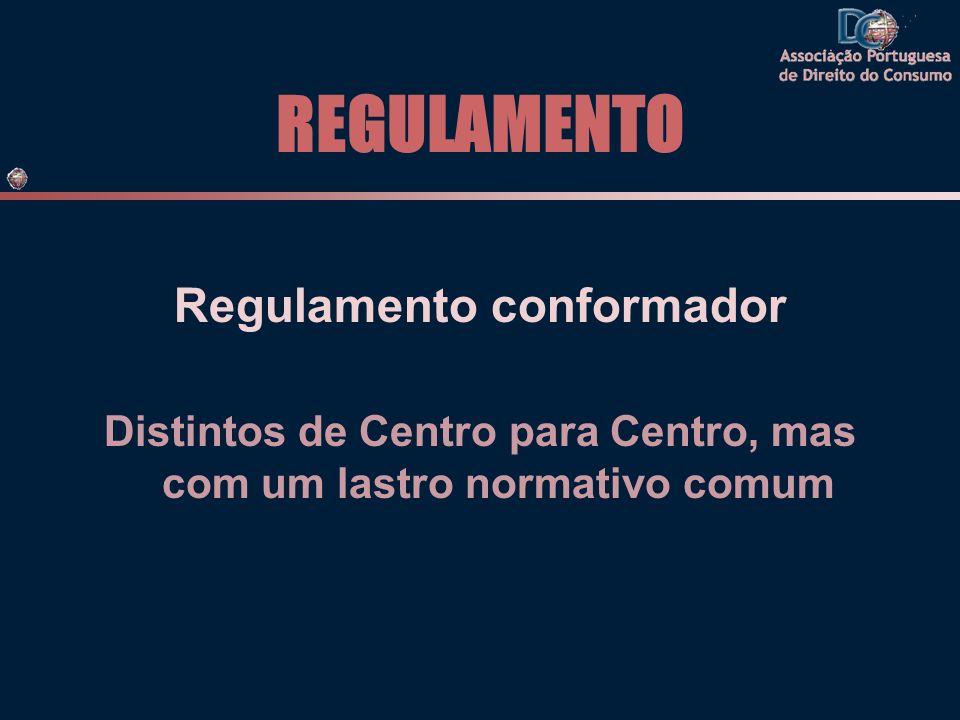 REGULAMENTO Regulamento conformador Distintos de Centro para Centro, mas com um lastro normativo comum