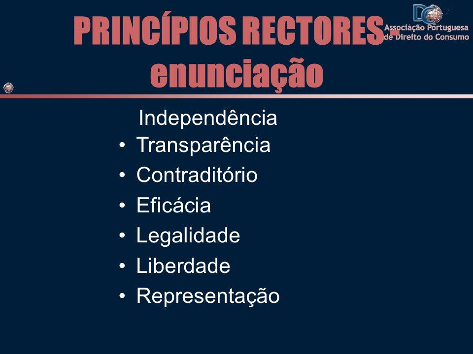 PRINCÍPIOS RECTORES - enunciação Independência Transparência Contraditório Eficácia Legalidade Liberdade Representação