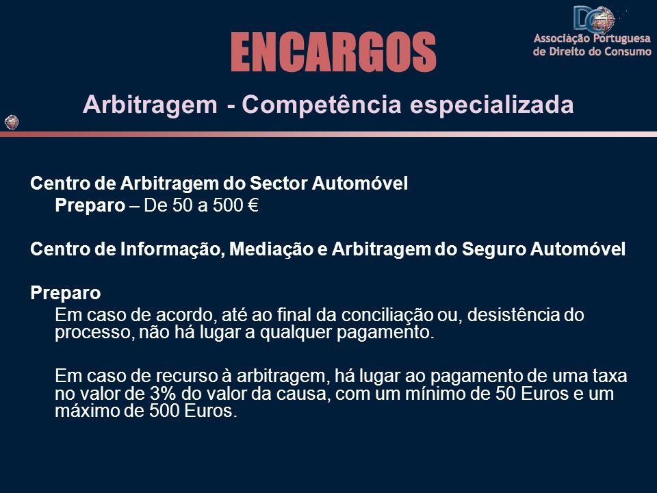 ENCARGOS Arbitragem - Competência especializada Centro de Arbitragem do Sector Automóvel Preparo – De 50 a 500 Centro de Informação, Mediação e Arbitr