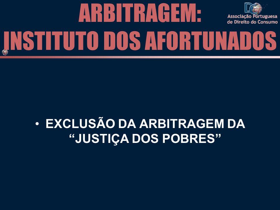 ARBITRAGEM: INSTITUTO DOS AFORTUNADOS EXCLUSÃO DA ARBITRAGEM DA JUSTIÇA DOS POBRES