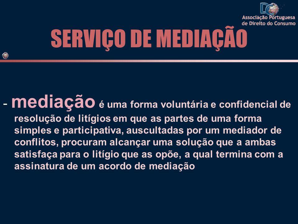 SERVIÇO DE MEDIAÇÃO - mediação é uma forma voluntária e confidencial de resolução de litígios em que as partes de uma forma simples e participativa, a