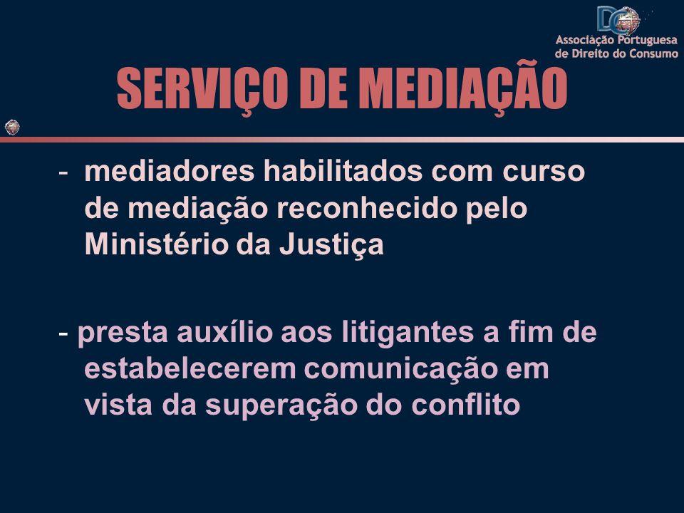 SERVIÇO DE MEDIAÇÃO -mediadores habilitados com curso de mediação reconhecido pelo Ministério da Justiça - presta auxílio aos litigantes a fim de estabelecerem comunicação em vista da superação do conflito