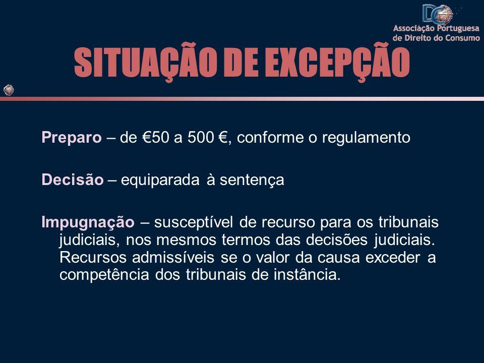 SITUAÇÃO DE EXCEPÇÃO Preparo – de 50 a 500, conforme o regulamento Decisão – equiparada à sentença Impugnação – susceptível de recurso para os tribunais judiciais, nos mesmos termos das decisões judiciais.