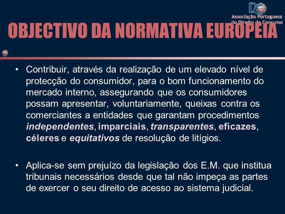 OBJECTIVO DA NORMATIVA EUROPEIA Contribuir, através da realização de um elevado nível de protecção do consumidor, para o bom funcionamento do mercado