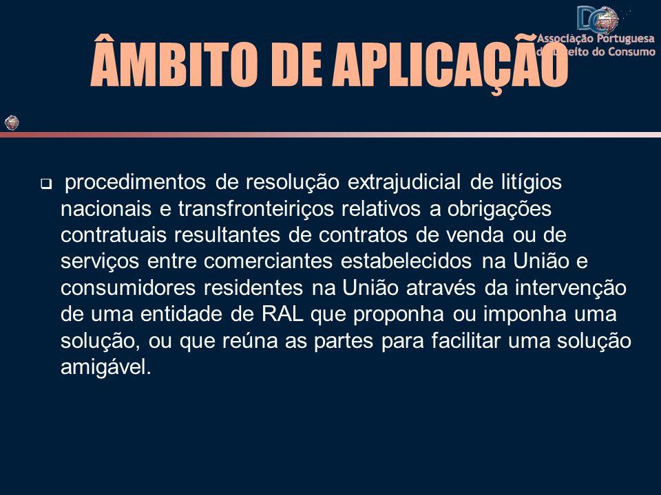 ÂMBITO DE APLICAÇÃO procedimentos de resolução extrajudicial de litígios nacionais e transfronteiriços relativos a obrigações contratuais resultantes