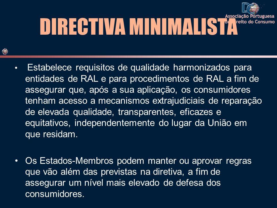 DIRECTIVA MINIMALISTA Estabelece requisitos de qualidade harmonizados para entidades de RAL e para procedimentos de RAL a fim de assegurar que, após a