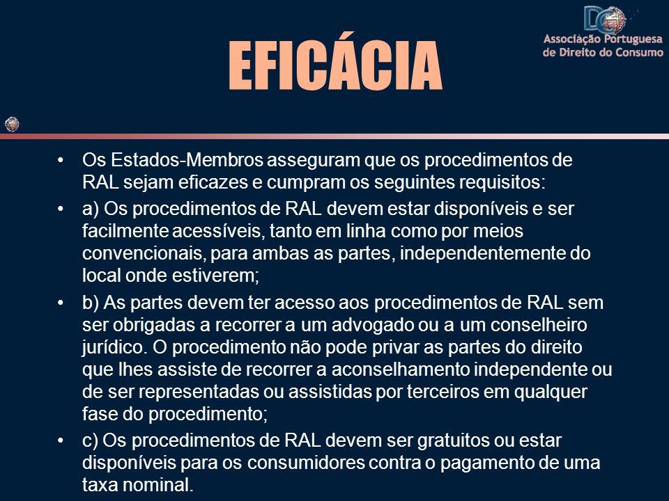 EFICÁCIA Os Estados-Membros asseguram que os procedimentos de RAL sejam eficazes e cumpram os seguintes requisitos: a) Os procedimentos de RAL devem e