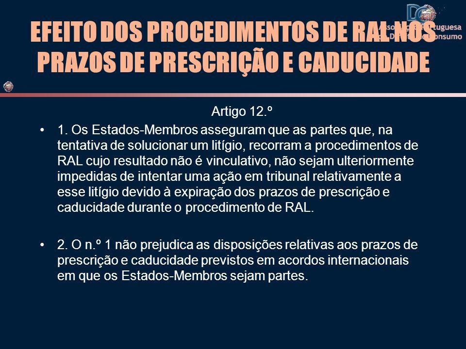 EFEITO DOS PROCEDIMENTOS DE RAL NOS PRAZOS DE PRESCRIÇÃO E CADUCIDADE Artigo 12.º 1. Os Estados-Membros asseguram que as partes que, na tentativa de s