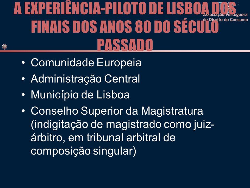 A EXPERIÊNCIA-PILOTO DE LISBOA DOS FINAIS DOS ANOS 80 DO SÉCULO PASSADO Comunidade Europeia Administração Central Município de Lisboa Conselho Superior da Magistratura (indigitação de magistrado como juiz- árbitro, em tribunal arbitral de composição singular)