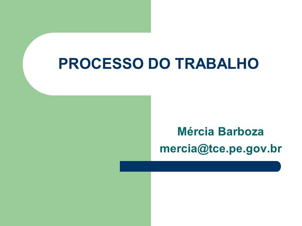 PROCESSO DO TRABALHO Mércia Barboza mercia@tce.pe.gov.br