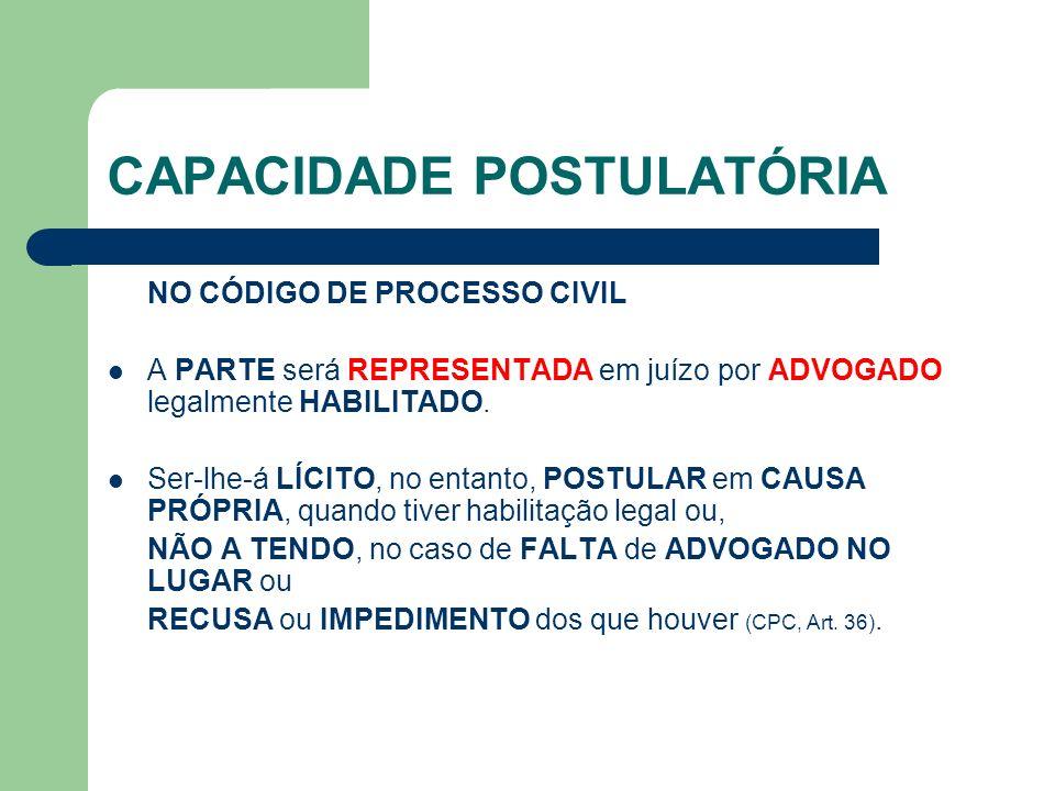 CAPACIDADE POSTULATÓRIA NO CÓDIGO DE PROCESSO CIVIL A PARTE será REPRESENTADA em juízo por ADVOGADO legalmente HABILITADO.