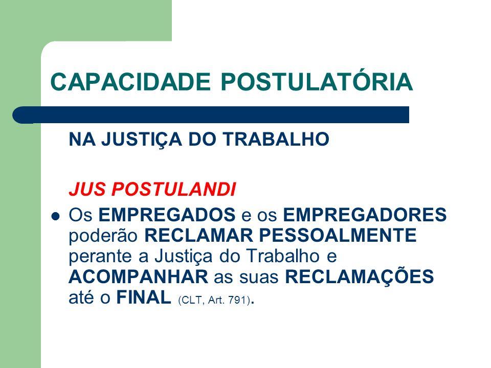 CAPACIDADE POSTULATÓRIA NA JUSTIÇA DO TRABALHO JUS POSTULANDI Os EMPREGADOS e os EMPREGADORES poderão RECLAMAR PESSOALMENTE perante a Justiça do Trabalho e ACOMPANHAR as suas RECLAMAÇÕES até o FINAL (CLT, Art.