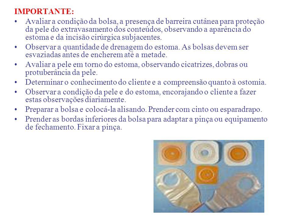 IMPORTANTE: Avaliar a condição da bolsa, a presença de barreira cutânea para proteção da pele do extravasamento dos conteúdos, observando a aparência